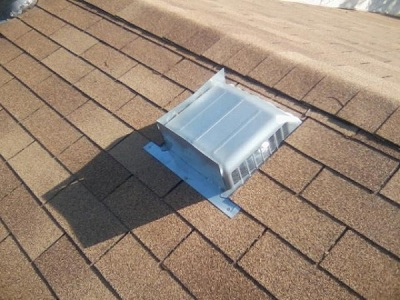 Inadequate attic ventilation. This homeowner screwed sheet metal to 2 sides of the turtle vent making it almost useless.
