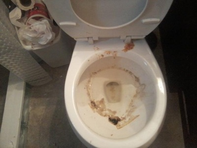 The smell coming out of this toilet was enough to make you step back. Still had to inspect the bathroom though. YAAH!